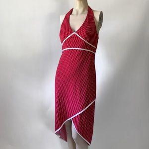 Vintage 90s Polkadot Halter Hi-Lo Dress